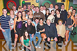 KEY OF THE DOOR: Enjoying his 21st birthday in Parkers Bar, Kilflynn, on Friday evening was Lee Caffrey of Lixnaw (seated 2nd from left) along with family and friends..