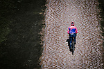 EF Education First recon the cobbles of Arenberg sector before Paris-Roubaix 2019,Wallers, France. 11th April 2019<br /> Picture: ASO/Pauline Ballet | Cyclefile<br /> All photos usage must carry mandatory copyright credit (&copy; Cyclefile | ASO/Pauline Ballet)