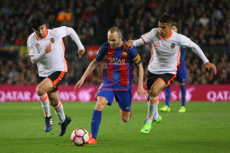 League Santander 2016/2017. Game: 28.<br /> FC Barcelona vs Valencia CF: 4-2.<br /> Carlos Soler, Andres Iniesta &amp; Joao Cancelo.