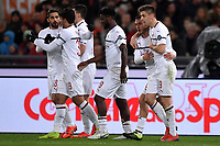 Krzysztof Piatek (1L) of AC Milan celebrates with team mates after scoring the goal of 0-1 during the Serie A 2018/2019 football match between AS Roma and AC Milan at stadio Olimpico, Roma, February 3, 2019 <br />  Foto Andrea Staccioli / Insidefoto