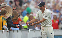 England's Alastair Cook signs autographs during a break in play<br /> <br /> Photographer Stephen White/CameraSport<br /> <br /> Investec Test Series 2017 - Second Test - England v South Africa - Day 3 - Sunday 16th July 2017 - Trent Bridge - Nottingham<br /> <br /> World Copyright &copy; 2017 CameraSport. All rights reserved. 43 Linden Ave. Countesthorpe. Leicester. England. LE8 5PG - Tel: +44 (0) 116 277 4147 - admin@camerasport.com - www.camerasport.com