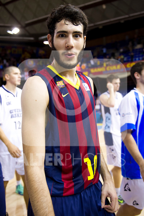 FC Barcelona's Alex Abrines jokes to the camera at the end of Liga Endesa ACB 2013-2014 match against Gipuzkoa Basket Club. November 3, 2013. (ALTERPHOTOS/Alex Caparros)