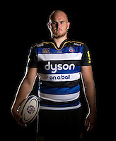 Matt Garvey poses for a portrait in the 2015/16 home kit during a Bath Rugby photocall on September 8, 2015 at Farleigh House in Bath, England. Photo by: Patrick Khachfe / Onside Images