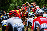 The peloton in action during Stage 5 of the 2018 Tour de France running 204.5km from Lorient to Quimper, France. 11th July 2018. <br /> Picture: ASO/Alex Broadway | Cyclefile<br /> All photos usage must carry mandatory copyright credit (&copy; Cyclefile | ASO/Alex Broadway)