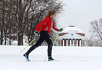 Fourth year UVa student Katinka Tobiasson cross country ski's on the lawn area at the University of Virginia Thursday after a snowfall in Charlottesville, VA. Photo/Andrew Shurtleff