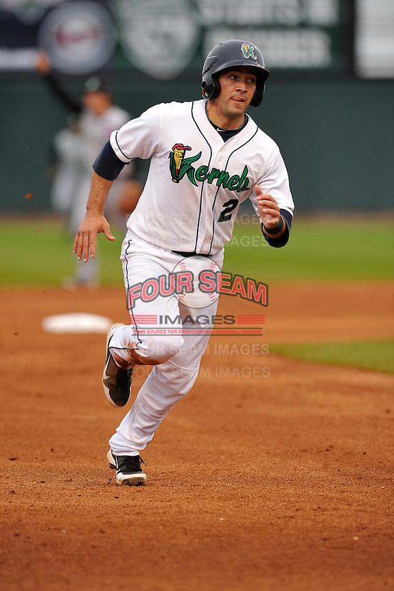 Joel Licon #2 of the Cedar Rapids Kernels runs towards third base against the Kane County Cougars at Perfect Game Field on May 1, 2014 in Cedar Rapids, Iowa. The Kernels won 5-2.   (Dennis Hubbard/Four Seam Images)