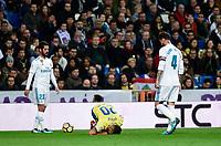 Real Madrid's Isco Alarcon (l) and Sergio Ramos  and UD Las Palmas' Vitolo during La Liga match. November 5,2017. (ALTERPHOTOS/Inma Garcia)