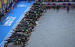 LONDON, ENGLAND - AUGUST 4:  A general view of the swim start during the Women's Triathlon Final, Day 8 of the London 2012 Olympic Games on August 4, 2012 at the Hyde Park in London, England. (Photo by Donald Miralle)