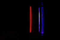 SPECTRUM ANALYSIS: EMISSION (BRIGHT LINE) SPECTRA<br /> Carbon Dioxide (CO2)<br /> Electrical discharge passes through the spectrum tube, which is filled with gas, causing electrons in the gas to be excited.  As the electrons relax, they emit light - a characteristic color for each gas.