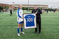 Boston, MA - Friday July 07, 2017: Julie King is presented with her 100th game jersey by Boston Breakers President of Soccer Operations and Development Lee Billiard prior to a regular season National Women's Soccer League (NWSL) match between the Boston Breakers and the Chicago Red Stars at Jordan Field.