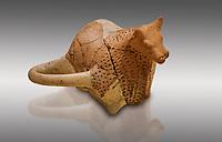 Hittite terra cotta sleremonial libation rhython in the shape of a bull. Hittite Period, 1600 - 1200 BC.  Hattusa Boğazkale. Çorum Archaeological Museum, Corum, Turkey