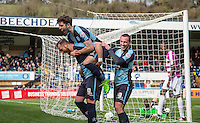 Celebrations as Paul Hayes of Wycombe Wanderers opens the scoring during the Sky Bet League 2 match between Wycombe Wanderers and Barnet at Adams Park, High Wycombe, England on 16 April 2016. Photo by Kevin Prescod.