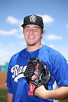 Josh Sborz (27) of the Rancho Cucamonga Quakes poses for a photo before a game against the High Desert Mavericks at Heritage Field on May 8, 2016 in Adelanto, California. Rancho Cucamonga defeated High Desert, 11-5. (Larry Goren/Four Seam Images)
