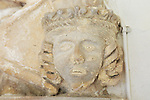 Stone carved face of Queen Eleanor of Aquitaine, lived 1122- 1204, St Mary parish church, Benhall, Suffolk, England, UK