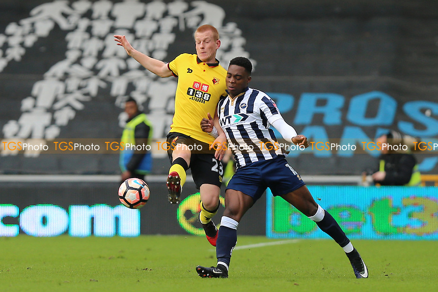 Ben Watson of Watford tangles with Fred Onyedinma of Millwall during Millwall vs Watford, Emirates FA Cup Football at The Den on 29th January 2017