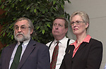 Tony Marro, Ray Jansen, and Charlotte Hall seen at a reception at Newsday on April 16, 2003, affirming their release from an Iraq prison. Photo by Jim Peppler.
