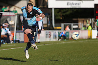 Paul Hayes of Wycombe Wanderers crosses the ball during the Sky Bet League 2 match between Wycombe Wanderers and Mansfield Town at Adams Park, High Wycombe, England on 25 March 2016. Photo by David Horn.