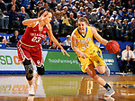 BROOKINGS, SD - DECEMBER 6: Myah Selland #44 from South Dakota State looks to drive past Maddie Manning #23 from Oklahoma during their game Wednesday night at Frost Arena in Brookings. (Photo by Dave Eggen/Inertia)