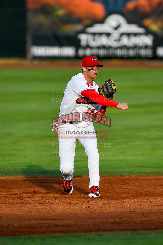 Connor Justus (16) of the Orem Owlz on defense against the Grand Junction Rockies in Pioneer League action at Home of the Owlz on July 7, 2016 in Orem, Utah. The Owlz defeated the Rockies 15-3. (Stephen Smith/Four Seam Images)