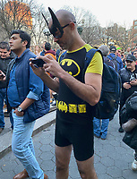 NEW YORK, NY - JANUARY 12: Participants in Union Square  celebrating the end of the No Pants Subway Ride NYC 2020 in New York, New York on January 12, 2020 2019.  <br /> CAP/MPI/RMP<br /> ©RMP/MPI/Capital Pictures