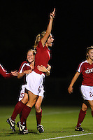 14 September 2007: Stanford Cardinal Allison Falk (4) and Rachel Buehler during Stanford's 3-2 win in the Stanford Invitational against the Missouri Tigers at Maloney Field in Stanford, CA.
