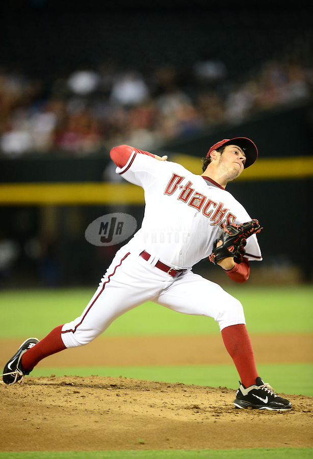 Jul. 3, 2012; Phoenix, AZ, USA: Arizona Diamondbacks pitcher Trevor Bauer against the San Diego Padres at Chase Field. Mandatory Credit: Mark J. Rebilas-