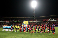 CÚCUTA-COLOMBIA, 14-11-2019: Jugadores de Cúcuta Deportivo y Atlético Junior durante partido de la fecha 2 de los cuadrangulares semifinales entre Cúcuta Deportivo y Atlético Junior, por la Liga Águila II 2019, jugado en el estadio General Santander de la ciudad de Cúcuta. / Players of Cucuta Deportivo, during a match of the 2 date of the semifinals quarter finals between Cucuta Deportivo and Atletico Junior, for the Aguila Leguaje II 2019 at the General Santander Stadium in Cucuta city. / Photo: VizzorImage / Manuel Hernández / Cont.
