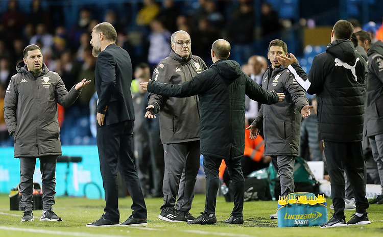 Leeds United manager Marcelo Bielsa has words with the fourth official<br /> <br /> Photographer Rich Linley/CameraSport<br /> <br /> The EFL Sky Bet Championship - Tuesday 1st October 2019  - Leeds United v West Bromwich Albion - Elland Road - Leeds<br /> <br /> World Copyright © 2019 CameraSport. All rights reserved. 43 Linden Ave. Countesthorpe. Leicester. England. LE8 5PG - Tel: +44 (0) 116 277 4147 - admin@camerasport.com - www.camerasport.com