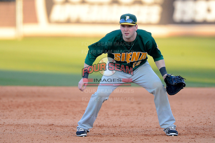 Siena Saints catcher / first baseman Larry Balkwill #19 during a game against the Central Florida Knights at Jay Bergman Field on February 16, 2013 in Orlando, Florida.  Siena defeated UCF 7-4.  (Mike Janes/Four Seam Images)