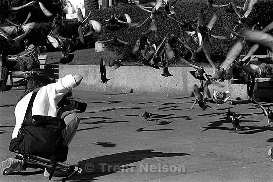 Scott Shafer under a sea of pigeons, 1987.  &amp;#xA;<br />
