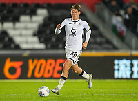 23rd November 2019; Liberty Stadium, Swansea, Glamorgan, Wales; English Football League Championship, Swansea City versus Millwall; George Byers of Swansea City brings the ball forward during the match - Strictly Editorial Use Only. No use with unauthorized audio, video, data, fixture lists, club/league logos or 'live' services. Online in-match use limited to 120 images, no video emulation. No use in betting, games or single club/league/player publications