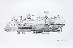 Port of Port Townsend, fish packers, on the hard, Journal Art 2013, pencil on paper,