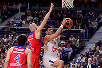 Real Madrid's Gustavo Ayon and CSKA Moscow James Augustine during Turkish Airlines Euroleague match between Real Madrid and CSKA Moscow at Wizink Center in Madrid, Spain. January 06, 2017. (ALTERPHOTOS/BorjaB.Hojas)