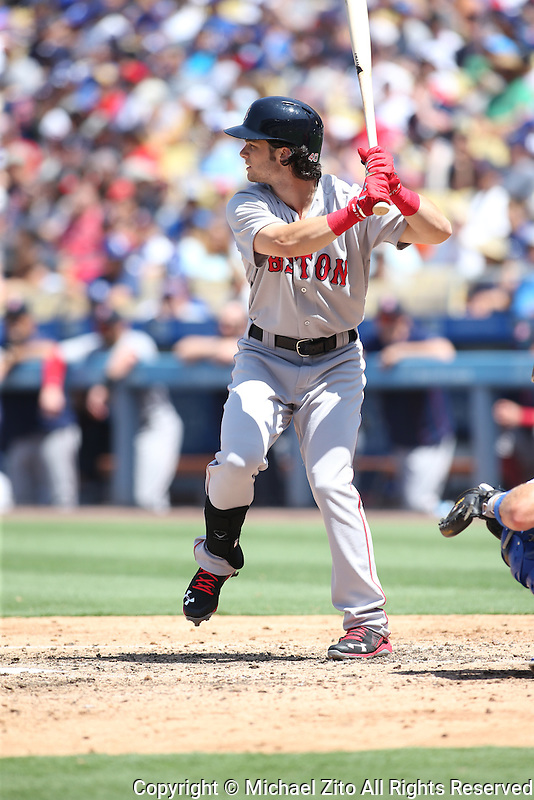 August 6, 2016 Los Angeles, CA: Boston Red Sox left fielder Andrew Benintendi #40 during an MLB game played at Dodger Stadium against the Los Angeles Dodgers.