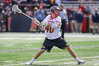 College Park, MD - April 1, 2017: Maryland Terrapins Connor Kelly (40) attempts a shot during game between Michigan and Maryland at  Capital One Field at Maryland Stadium in College Park, MD.  (Photo by Elliott Brown/Media Images International)