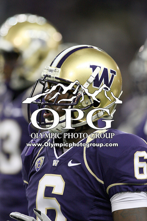 Oct 16, 20010:  Washington cornerback #6 Desmond Trufant warms up before the game against Oregon State.  Washington defeated Oregon State 35-35 in double overtime at Husky Stadium in Seattle, Washington...