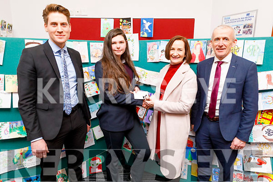 Coláiste Gleann Lí student Shania O'Brien took 3rd place in the Kerry ETB Christmas Card Competition, at the ETB Offices in Centrepoint, Tralee on Friday. <br /> L to r: Liam McGill (Deputy Principal), Shania O'Brien, Ann O' Dwyer (Director of Schools, Youth and Music. ETB) and Colm McEvoy (Chief Executive Officer ETB).