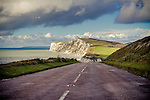 The Military Road (A3055) heading down towards Freshwater Bay on the Isle of Wight.