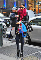 Miranda Kerr and her son Flynn Bloom in New York City