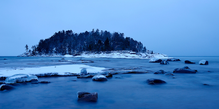 A pre-dawn view of Little Presque Isle in late December. Marquette, MI