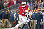 Wisconsin Badgers wide receiver Kendric Pryor (3) scores a touchdown during an NCAA College Big Ten Conference football game against the Michigan Wolverines Saturday, November 18, 2017, in Madison, Wis. The Badgers won 24-10. (Photo by David Stluka)