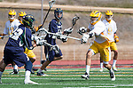 San Diego, CA 05/25/13 - Nick Meisberger (Del Norte #22) and unidentified Parker player(s) in action during the CIF San Diego Section Boys Division 2 Lacrosse Championship game.  Parker defeated Del Norte 12-4 for the 2013 title.