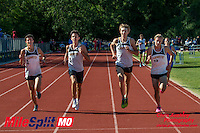 Lafayette's (left to right) Alec Haines, Devin Meyrer, Austin Hindman, and Dylan Quisenberry run to an impressive 1-4 finish in the 3200 meters in 9:24 at the 2016 MSHSAA Class 5 District 2 Track and Field Meet at Ladue High School, St. Louis, Saturday, May 14.