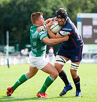 Morgan Eames of Doncaster Knights takes on the Newcastle Falcons defence. Pre-season friendly match, between Doncaster Knights and Newcastle Falcons on August 25, 2018 at Castle Park in Doncaster, England. Photo by: Patrick Khachfe / Onside Images
