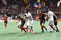 ATLANTA, GA - MARCH 07: ATLANTA, GA - MARCH 07: Atlanta United players crash the box for a corner kick during the match against FC Cincinnati, which Atlanta won, 2-1, in front of a crowd of 69,301 at Mercedes-Benz Stadium during a game between FC Cincinnati and Atlanta United FC at Mercedes-Benz Stadium on March 07, 2020 in Atlanta, Georgia.