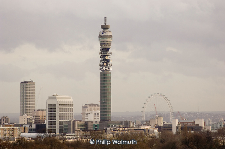 The Post Office Tower and the London Eye viewed from Primrose Hill, Camden, London.