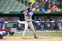 Cedar Rapids Kernels Estamy Urena (13) at bat during a Midwest League game against the South Bend Cubs at Four Winds Field on May 8, 2019 in South Bend, Indiana. South Bend defeated Cedar Rapids 2-1. (Zachary Lucy/Four Seam Images)