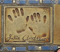 Hand print of the film star, Julie Andrews, outside the Palais des Festivals et des Congres, Cannes, France.