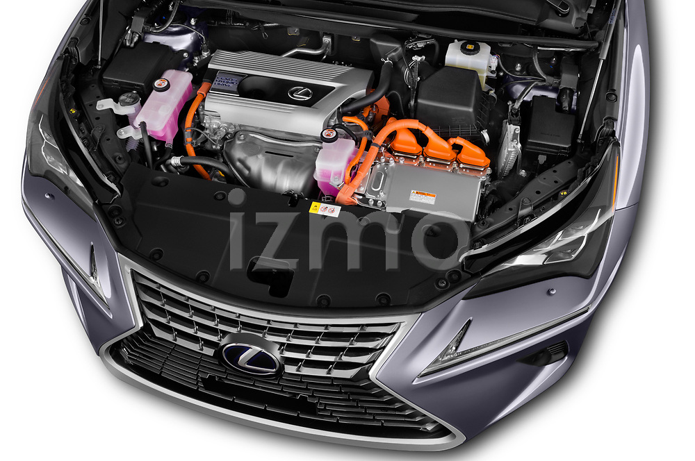 Car stock 2018 Lexus NX Executive Line 5 Door SUV engine high angle detail view