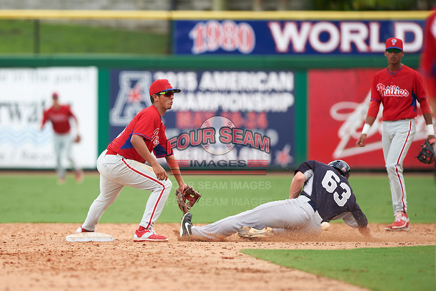 Philadelphia Phillies Jonathan Arauz (19) waits for the throw as Jeff Hendrix (63) slides into second during an instructional league game against the New York Yankees on September 29, 2015 at Brighthouse Field in Clearwater, Florida.  (Mike Janes/Four Seam Images)